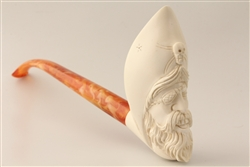 Special Hand Carved Pirate Churchwarden Meerschaum Pipe