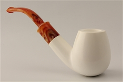 Deluxe Hand Carved Bent Billiard Smooth Meerschaum Pipe