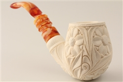 Special Hand Carved Floral Design Meerschaum Pipe