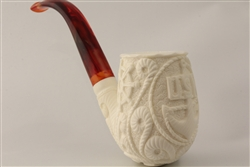 Special Hand Carved USN US Navy Emblem Meerschaum Pipe