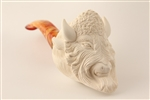 Deluxe Hand Carved Buffalo Meerschaum Pipe