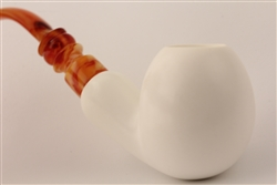 Hand Carved Apple Smooth Meerschaum Pipe