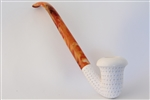 Deluxe Hand Carved Calabash Lattice Churchwarden Meerschaum Pipe