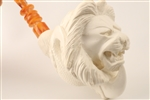 Special Hand Carved Lion in Claw Meerschaum Pipe