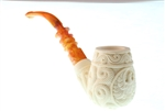 Special Hand Carved Eagle Medallion Meerschaum Pipe