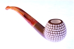 Deluxe Hand Carved Golf Ball Dark Finish Meerschaum Pipe