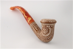 Deluxe Hand Carved Designer Lattice Dark Finish Meerschaum Pipe
