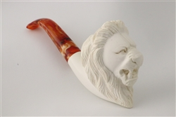 Deluxe Hand Carved Lion Meerschaum Pipe