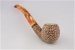 Hand Carved Rusticated Apple Dark Finish Block Meerschaum Pipe