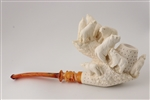 Hand Carved Bear Family Block Meerschaum Pipe