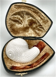 Hand Carved Oom Paul Designer Lattice Pocket Case Meerschaum Pipe