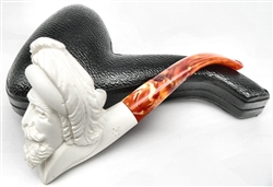 Hand Carved Bearded Musketeer Meerschaum Pipe