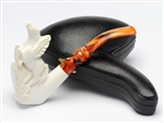 Hand Carved Full Carving of Flying Pegasus Meerschaum Pipe