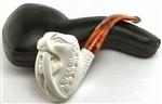 Deluxe Hand Carved Tall Saber Tooth Tiger Meerschaum Pipe