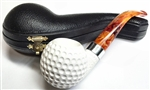 Deluxe Hand Carved Golf Ball with Silver Trim Ring Meerschaum Pipe