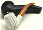 Hand Carved Lattice Style Designer Meerschaum Pipe