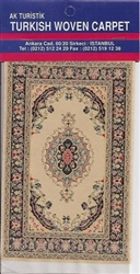 Miniature Turkish Woven Pipe Carpet - Beige Gold Black