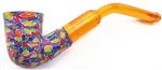 Hand Carved Multi Colored Blue Fimo Block Meerschaum Pipes