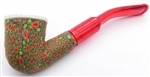 Hand Carved Green, Orange and Red Fimo Block Meerschaum Pipes