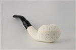 Hand Carved IMP Tear Drop Lattice Bulldog Block Meerschaum Pipe