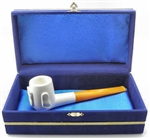 Smooth BIlliard Embossed Feet Meerschaum Pipe in Velvet Chest
