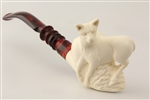 Special Hand Carved Wild Dog by Master Carver R. Karaca Meerschaum Pipe