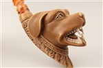 Special Hand Carved Dog Attack by Master Carver I.Baglan Meerschaum Pipe