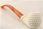 Special Hand Carved Golf Ball Churchwarden by Master Carver Emin Brothers Meerschaum Pipe