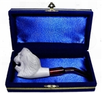 Mini Hand Carved Lion Animal Meerschaum Pipes with Velvet Chest