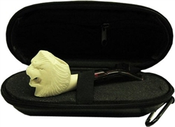 Mini Hand Carved Lion Meerschaum Pipe & Hard Case
