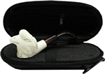 Mini Hand Carved Eagle Meerschaum Pipe & Hard Case