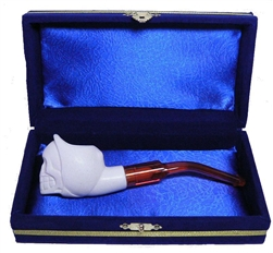 Mini Hand Carved Grim Reaper Skull Meerschaum Pipes with Velvet Chest