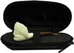 Mini Hand Carved Pirate Meerschaum Pipe & Hard Case