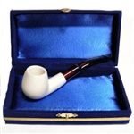 Mini Hand Carved Smooth Meerschaum Pipes with Velvet Chest