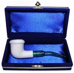Mini Hand Carved Calabash Smooth Meerschaum Pipes with Velvet Chest