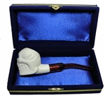 Mini Hand Carved Skull Meerschaum Pipes with Velvet Chest