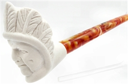 Mini Indian Chief Churchwarden Meerschaum Pipe