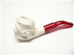 Mini Hand Carved Rose In Hand Meerschaum Pipes