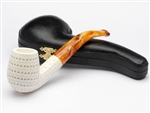 Hand Carved Round Hole Lattice Meerschaum Pipe