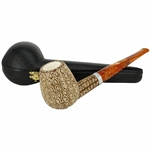 Deluxe Colored Lattice Silver Ring Block Meerschaum Pipe