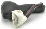 Hand Carved Grim Reaper Dark Stem Meerschaum Pipe