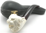Hand Carved Tiger Dark Stem Meerschaum Pipe