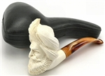 Hand Carved Man with Tall Turban Meerschaum Pipe