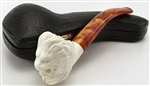 Hand Carved Smooth Lion Meerschaum Pipe