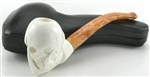 Hand Carved Tall Skull in Claw Meerschaum Pipe