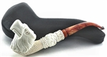 Eagle Beak with Carved Knurl Stem Meerschaum Pipe