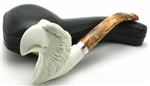 Eagle Head with Silver Trim Ring Meerschaum Pipe