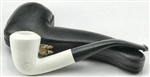 Hand Carved Smooth Dublin with Little Flower Design Meerschaum Pipe