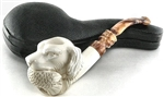 Deluxe Hand Carved Hunting Bird Dog Designer Stem Meerschaum Pipe