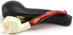 Hand Carved Lion Meerschaum Pipe
